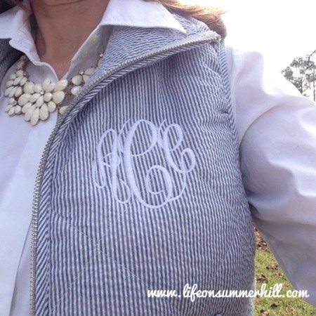 Blue Monogram Seersucker Vest winter www.lifeonsummerhill.com www.tiny tulip.com