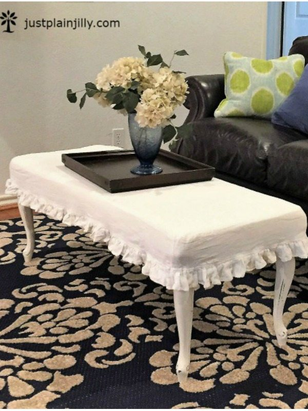 Creativity & Inspiration Tuesday Upcycled Decor Old Coffee Table New Ottoman