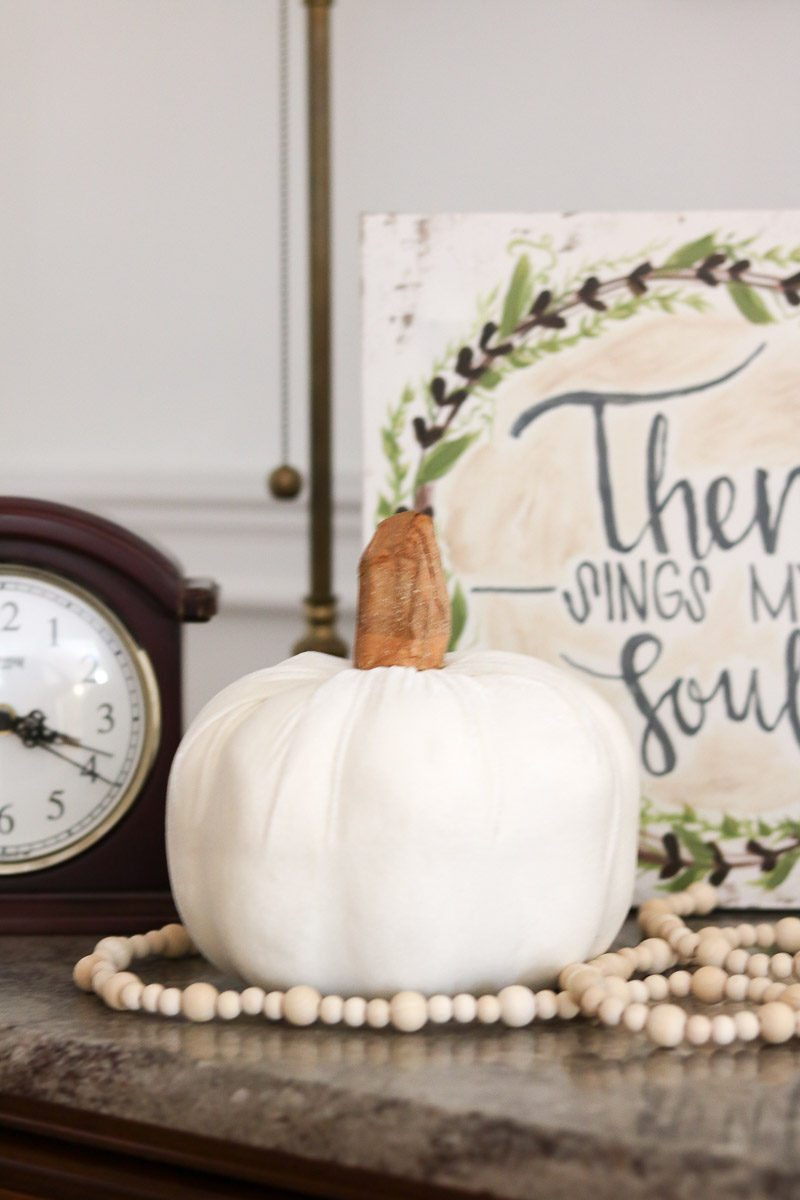 fall home tour white pumpkin