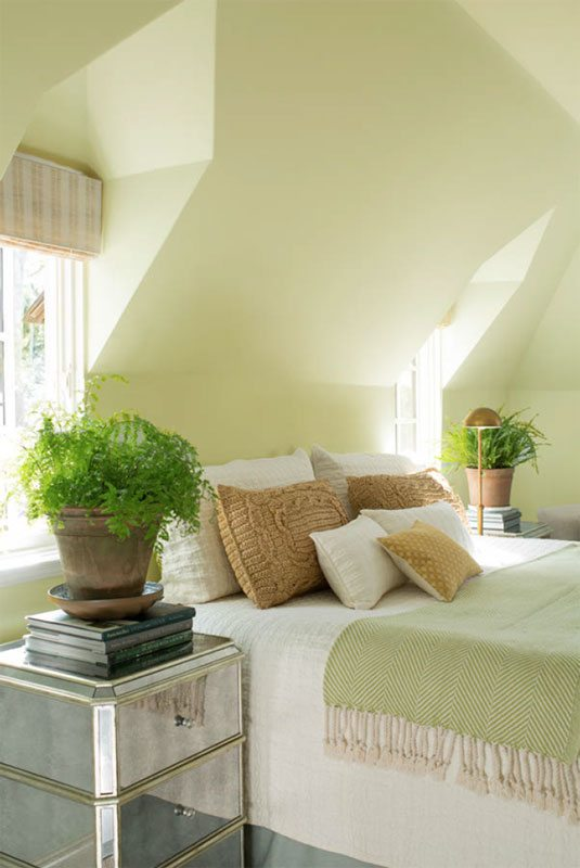 Benjamin Moore Color of the Year 2015 guilford green HC 116 used on the walls in a bedroom