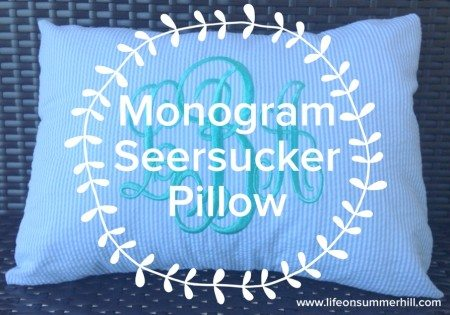 Monogram Seersucker Pillow www.lifeonsummerhill.com
