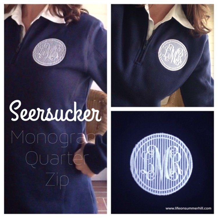 MONOGRAM SEERSUCKER QUARTER-ZIP SWEATSHIRT