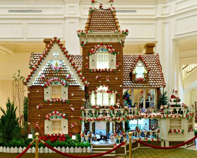 Life size gingerbread house adorns the lobby at the Grand Floridian.