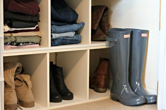 how to organize your home and stay organized by using caddies for shoes