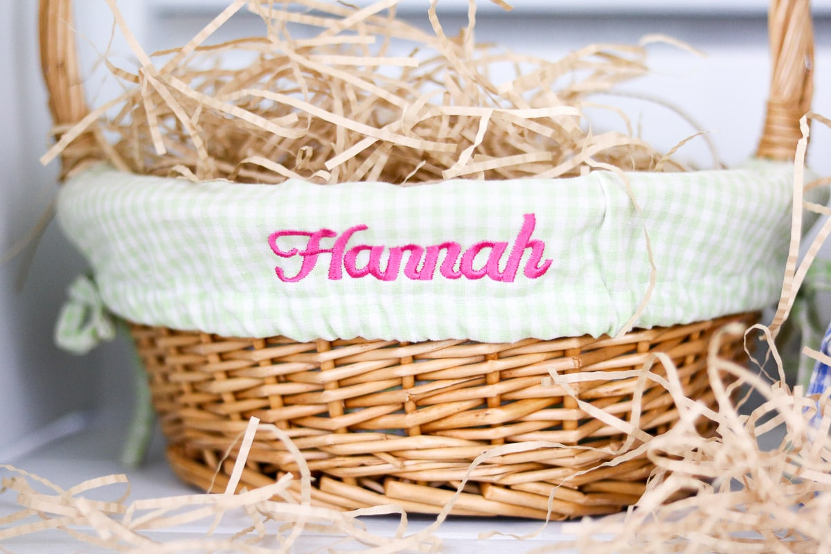 Easter basket ideas monogram name on gingham fabric