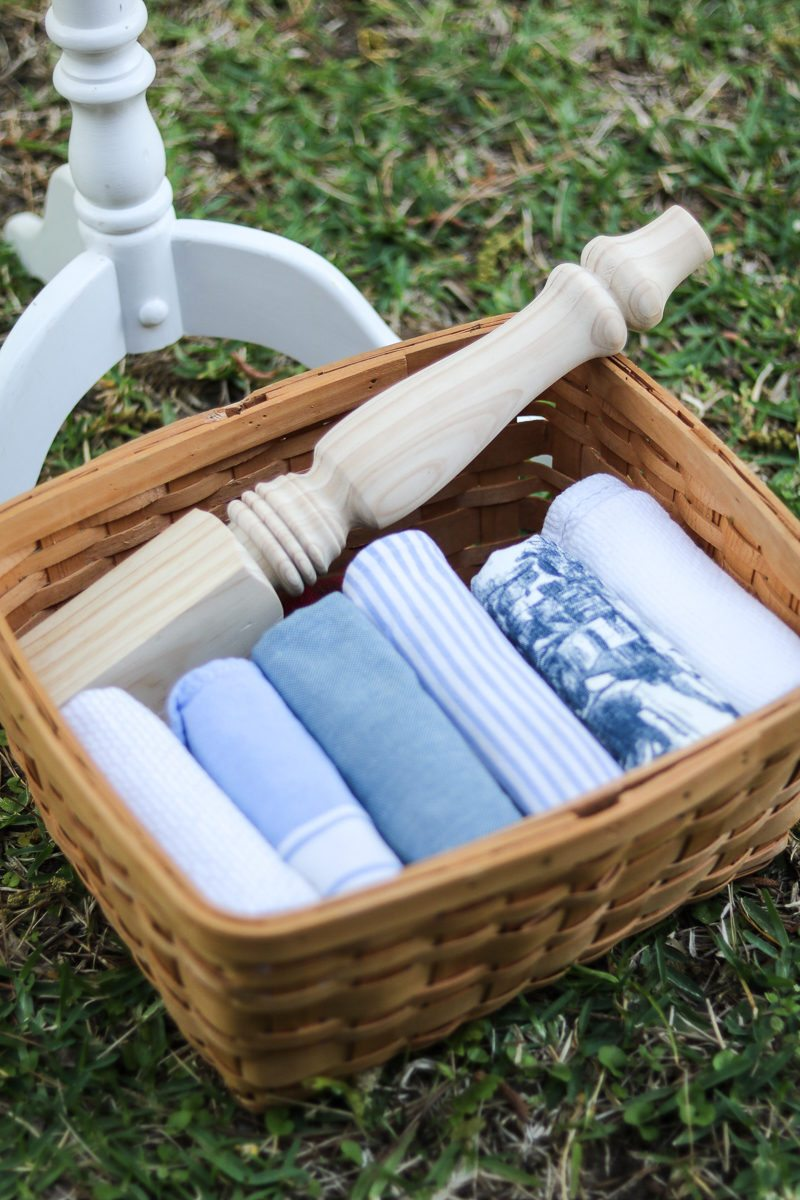 Basket full of towels to use as rags for painting project