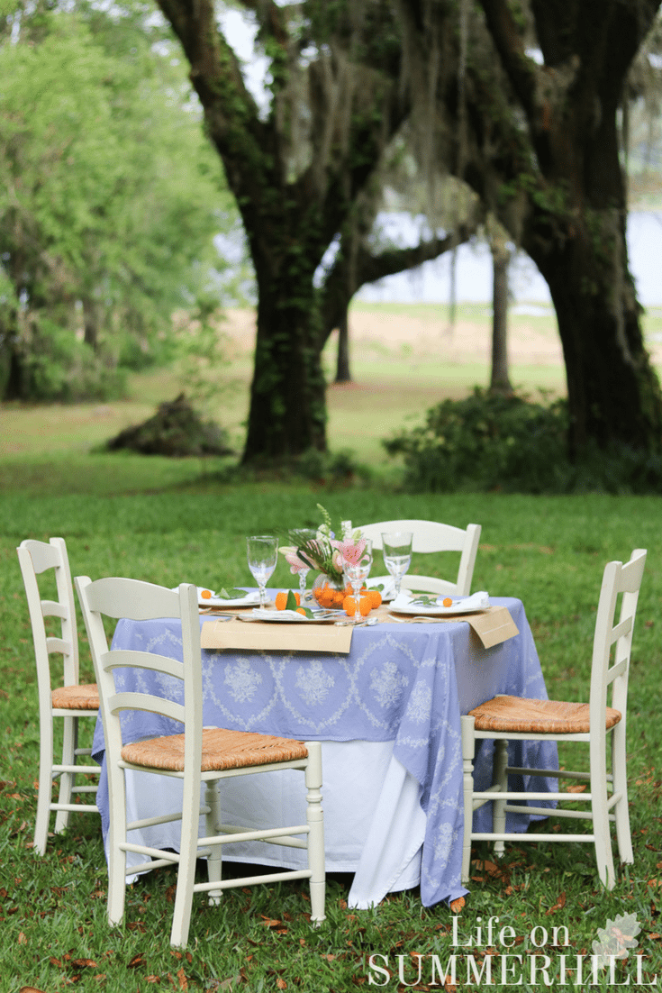 Mothers day tablescape idea outdoor brunch