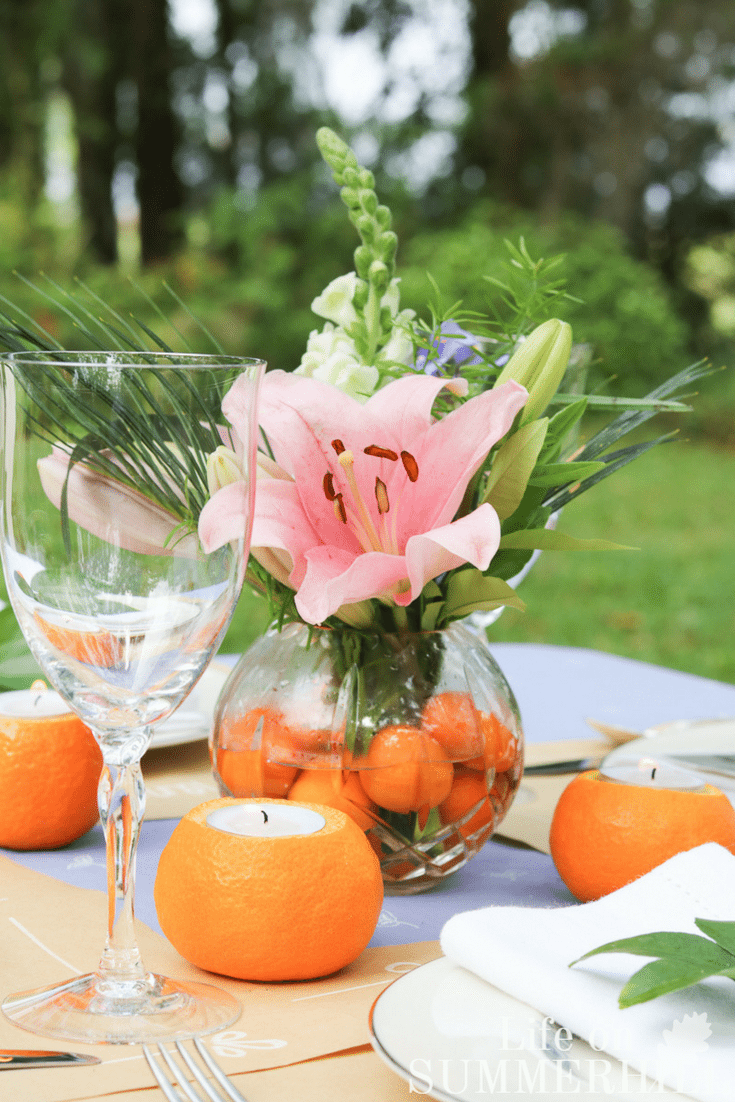 Mothers day tablescape idea centerpiece oranges