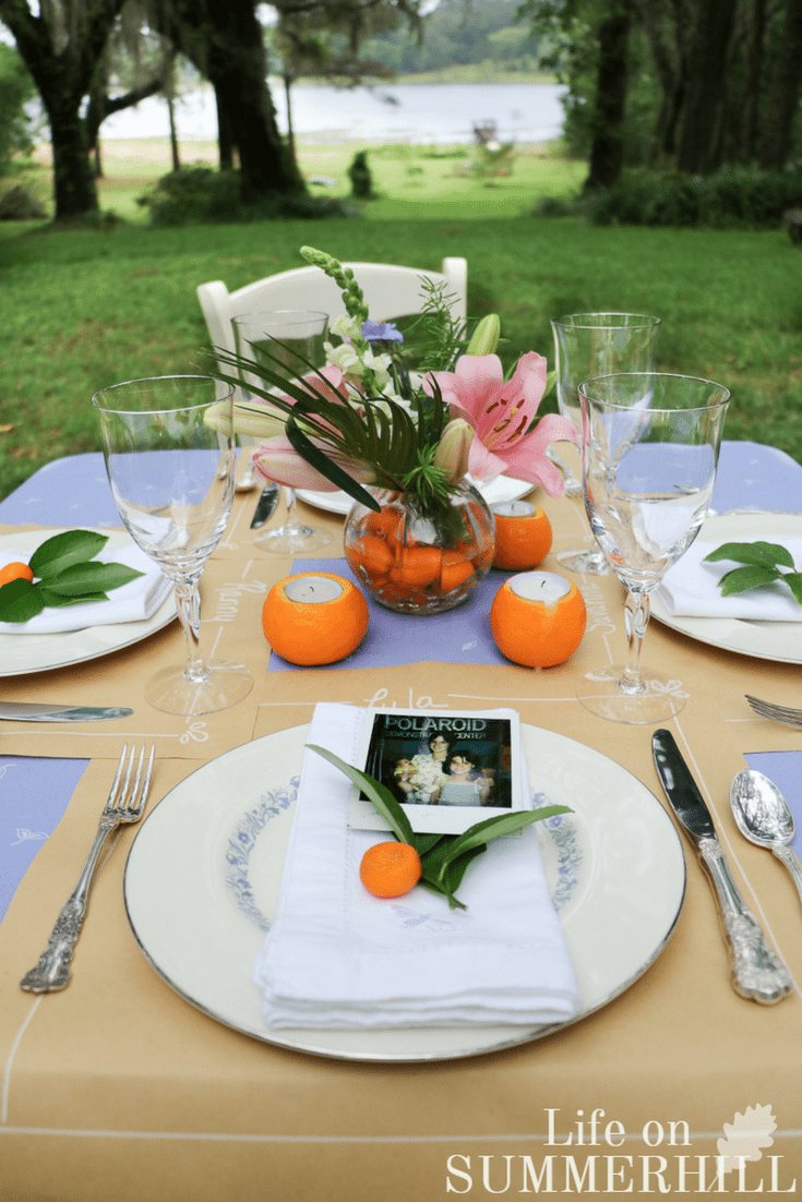 Mothers day tablescape idea place setting