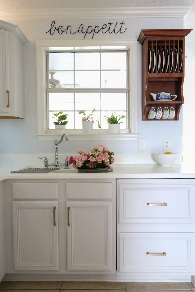 Sherwin Williams kitchen cabinet paint color First Star in farmhouse kitchen