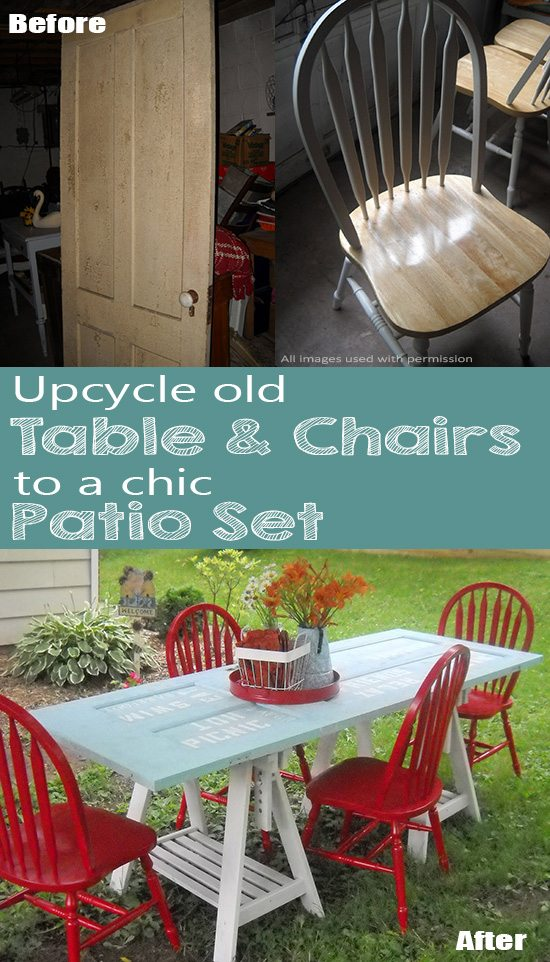 Creativity & Inspiration Tuesday Upcycled Decor Old Table Chairs Patio Set
