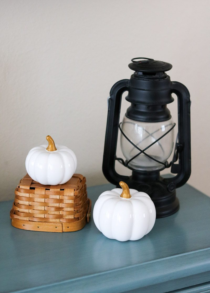 fall home tour basket pumpkin