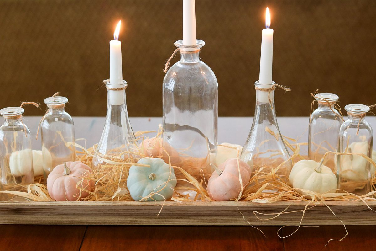 Farmhouse pumpkin centerpiece candles