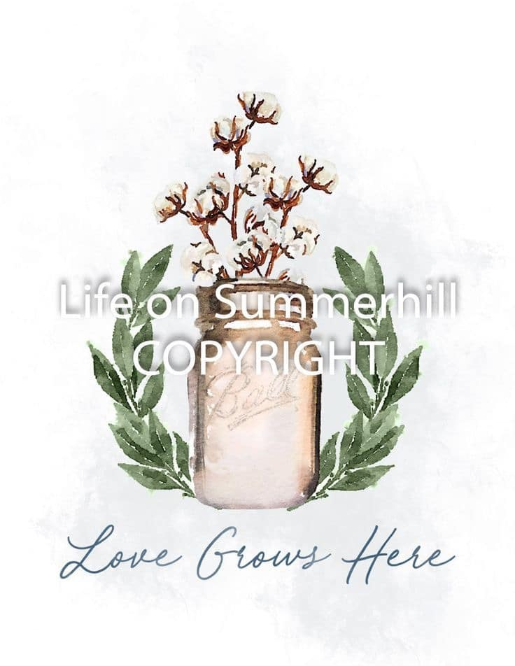 Love Grows Here fall free printable with gold mason jar, cotton stems, leaves