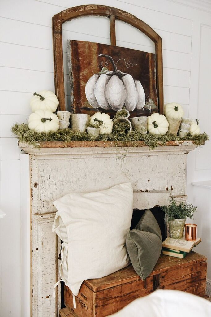 Autumn Mantels White Pumpkins
