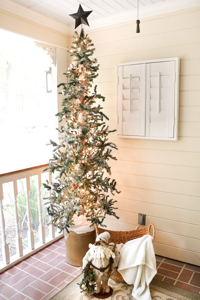 Christmas tree decorating rustic