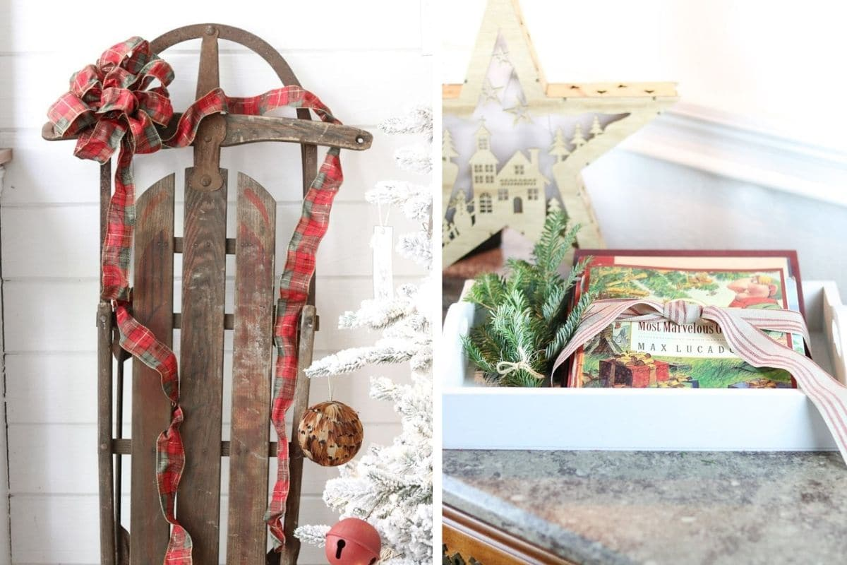 Decorating with old Christmas decoration like sled and books