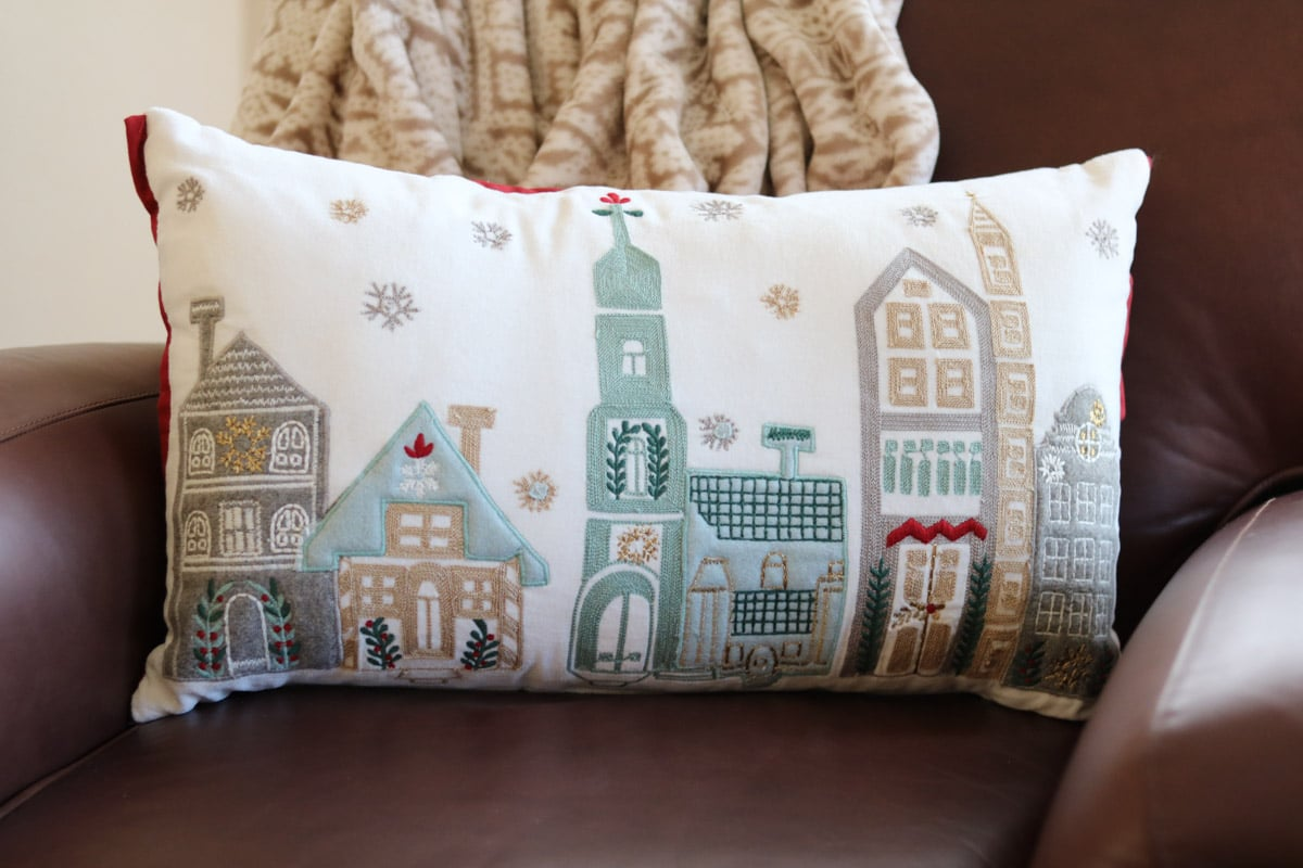 Christmas home tour village pillow
