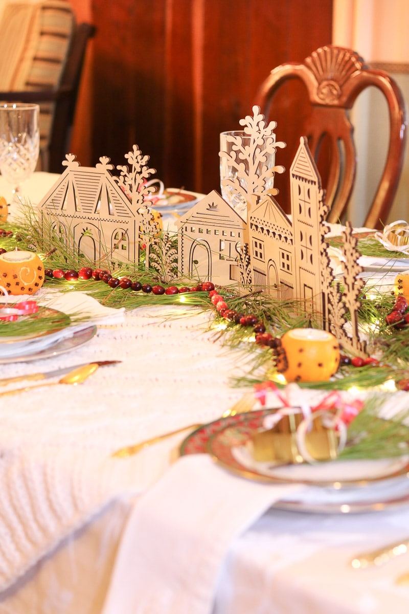 Festive tablescape centerpiece