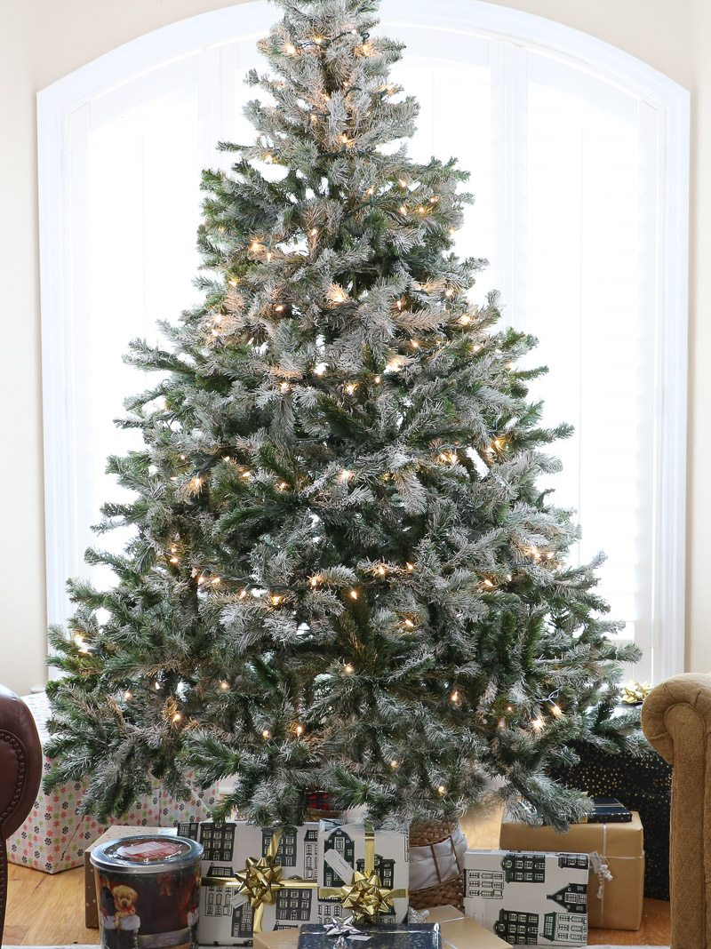 Christmas home tour flocked tree