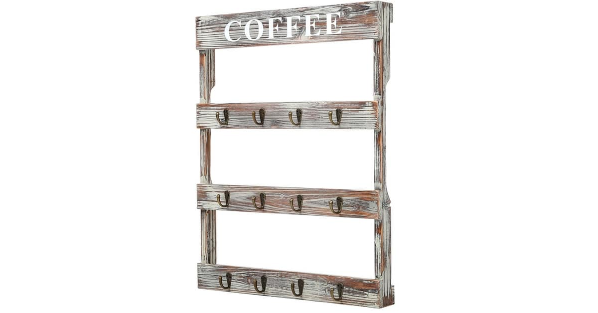 Storage Solutions Rustic Coffee Mug Rack