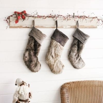 Old rustic vintage wood idea for hanging Christmas stocking