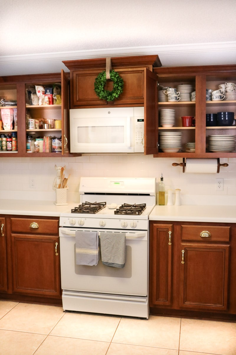 How to arrange kitchen cabinets in zones.  Here is the baking and cooking zone.
