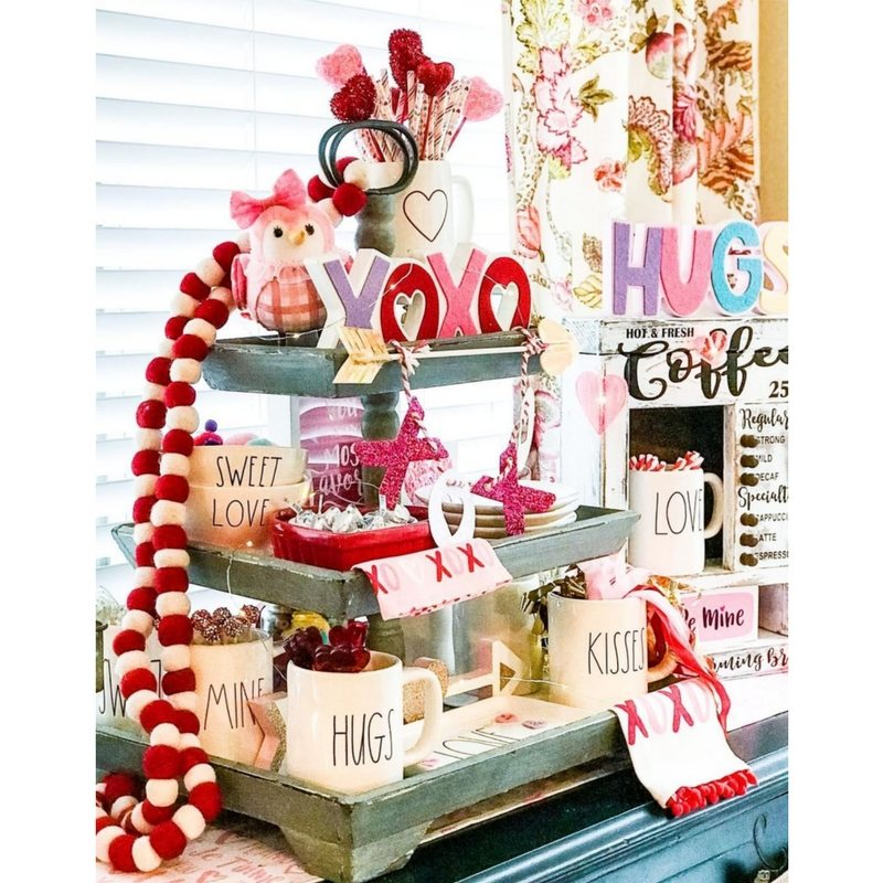 Valentine Tiered Tray Ideas.  Whimsical decorations fill this tray with bright colors of red, pink, purple and more. Little Cajun House