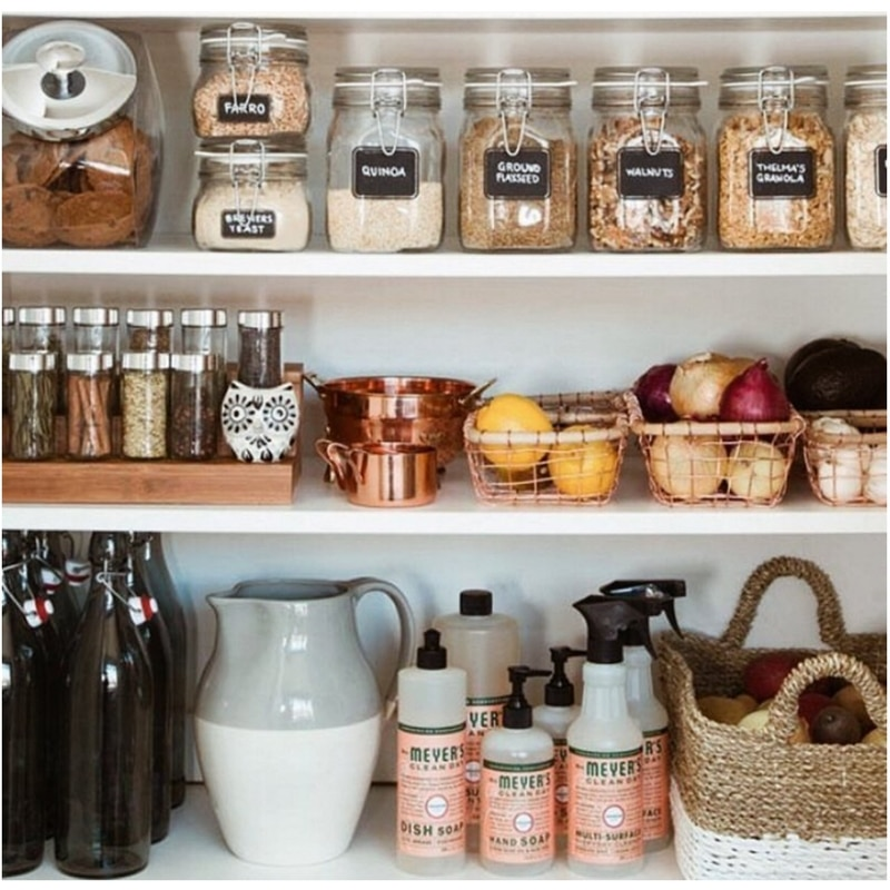 Farmhouse Kitchens by Miss Molly Vintage with labeled canisters in a kitchen pantry