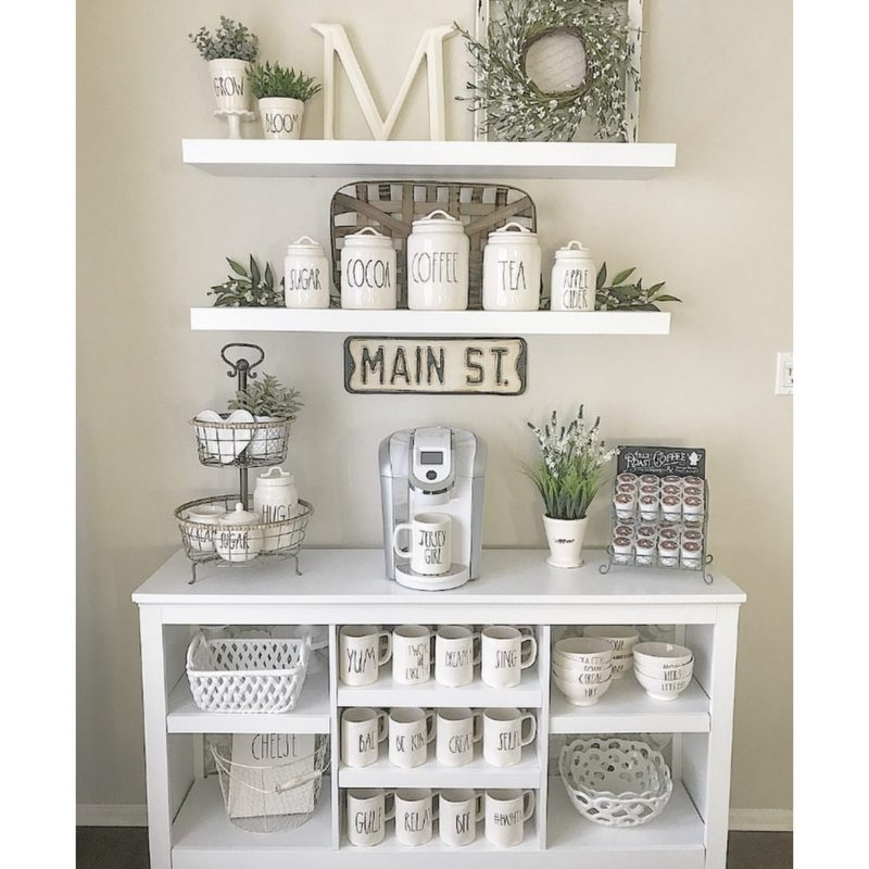 Farmhouse Kitchens by Home_Sweet_Homedecor with a Rae Dunn decorated coffee bar