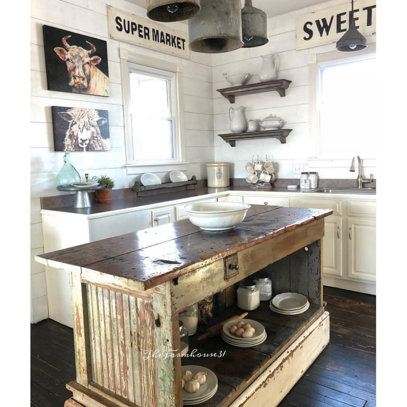Farmhouse Kitchens by The Farmhouse 31 with an old watermelon stand as a kitchen island