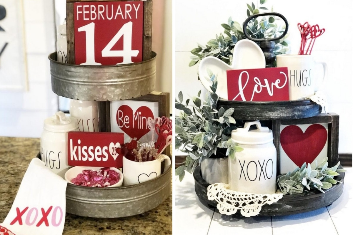 Valentine Tiered Tray Ideas.  Decorating for the holiday of love.