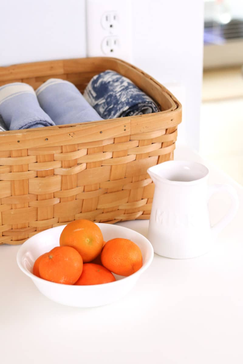 farmhouse kitchen decor oranges and towels