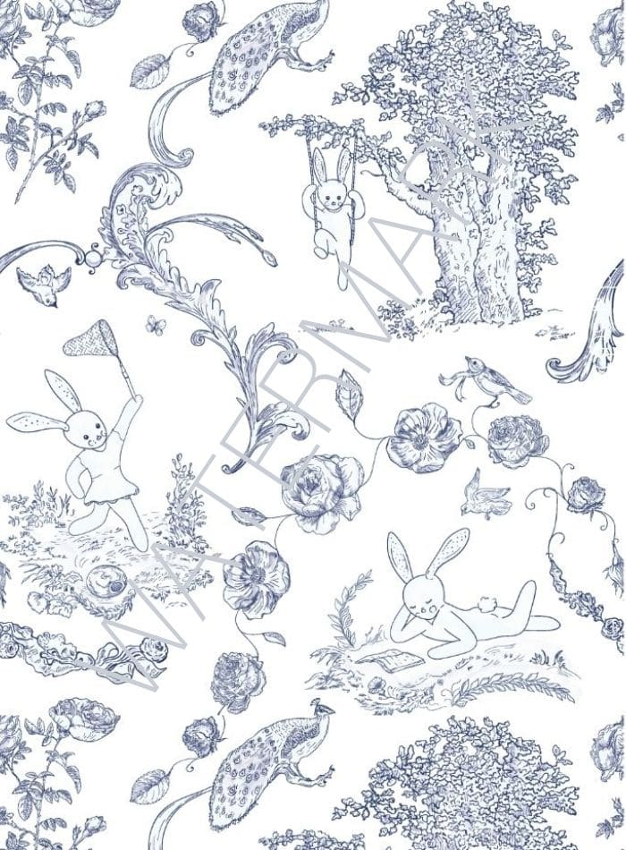 Blue and white toile pattern with scrolls, tree, birds and bunnies playing and swinging free printable.