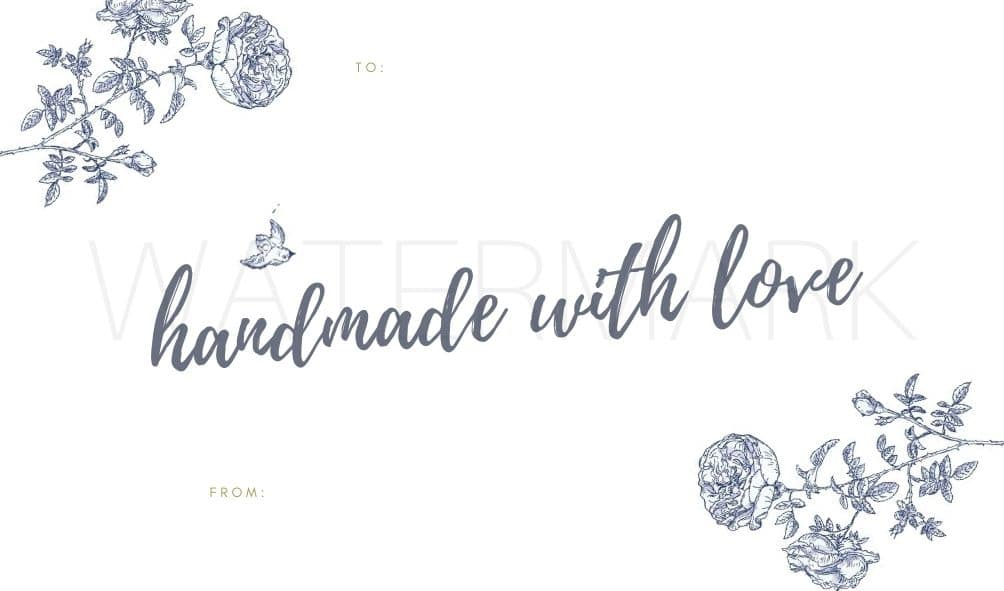 Blue and white toile gift tag free printable.