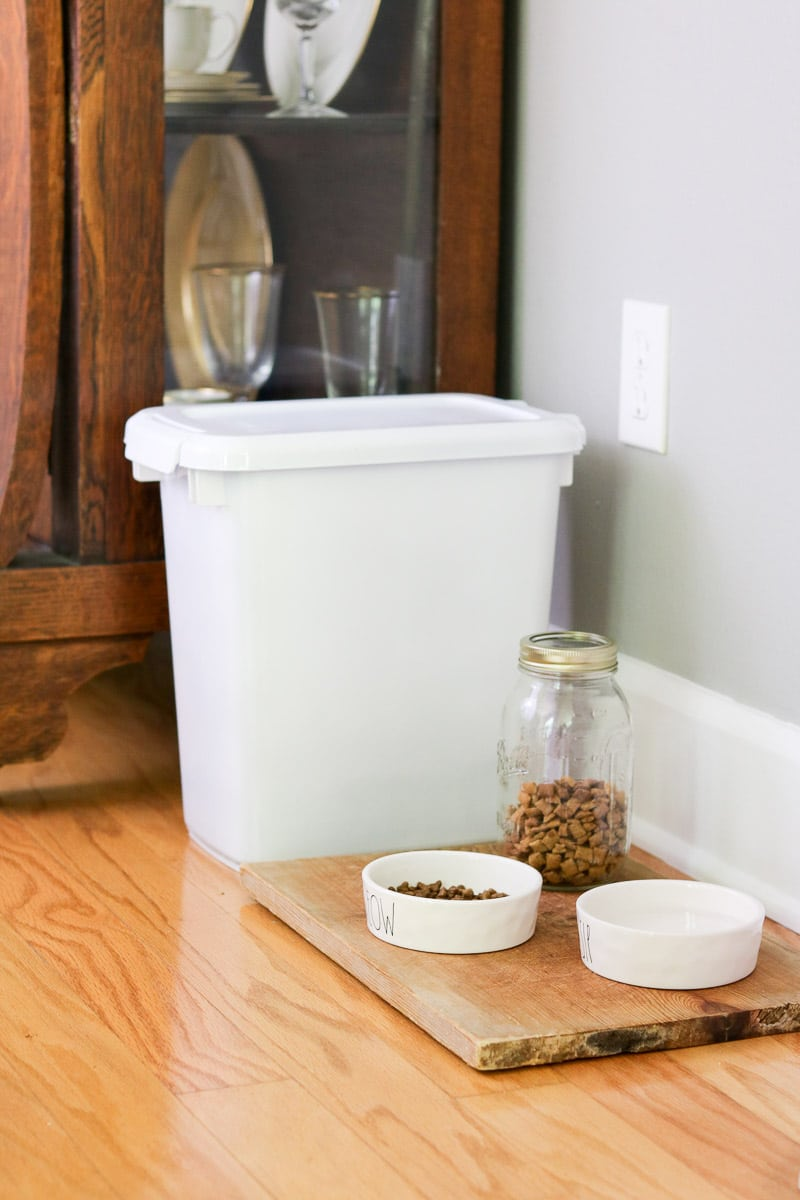 Pet bar station idea plastic storage container, rae dunn bowls and mason jar treat canister