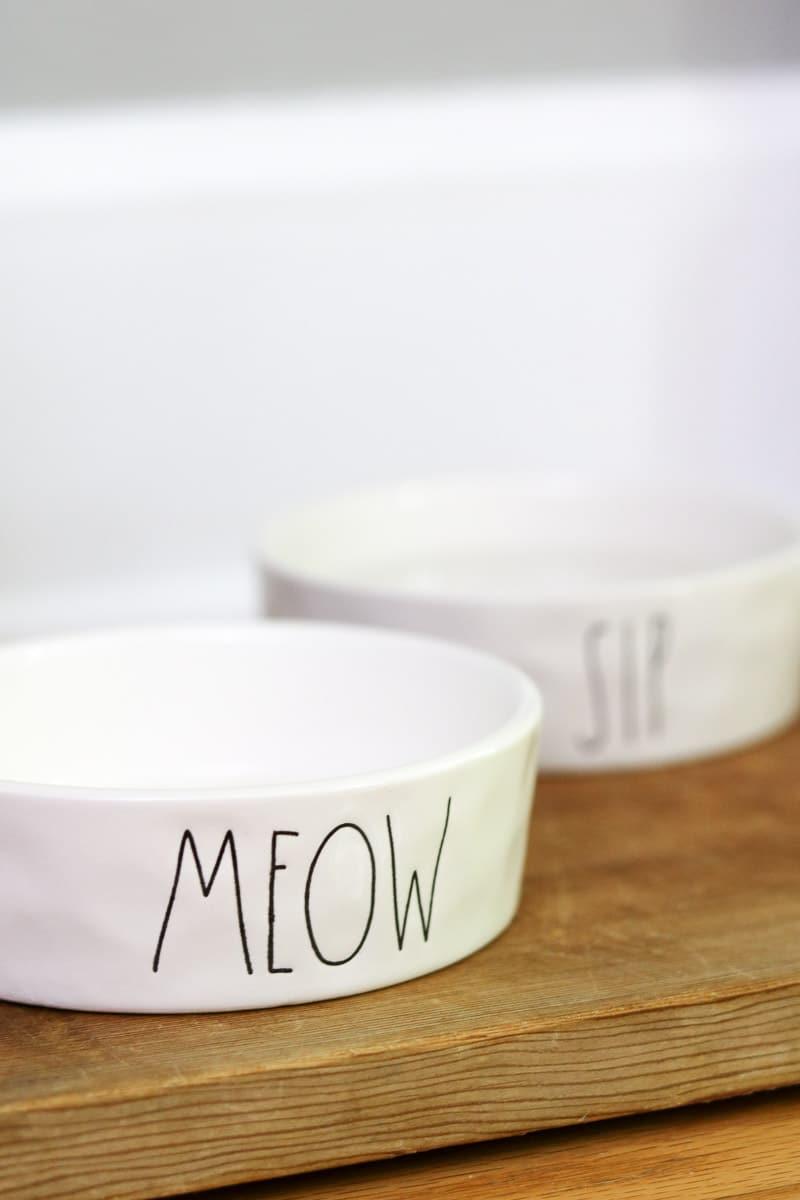Pet bar station idea rae dunn meow bowl for kitty