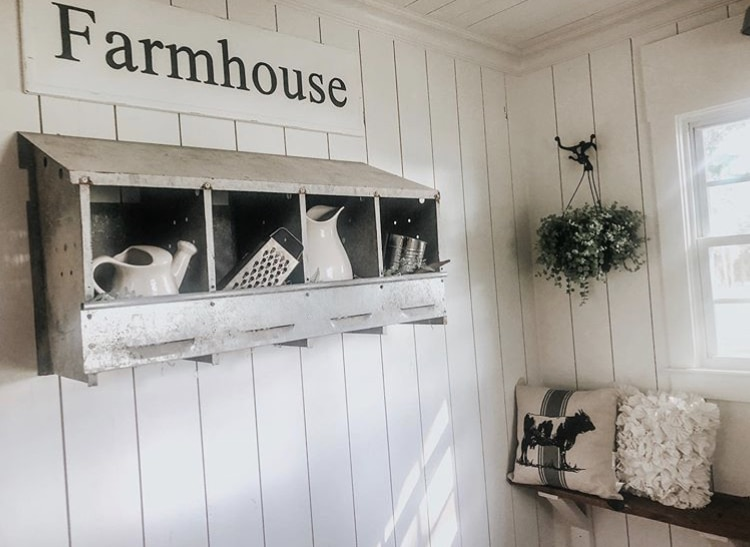 Chicken Nesting Boxes by Seffrin Southern Comfort with the perfect farmhouse decor displayed on a shiplap wall