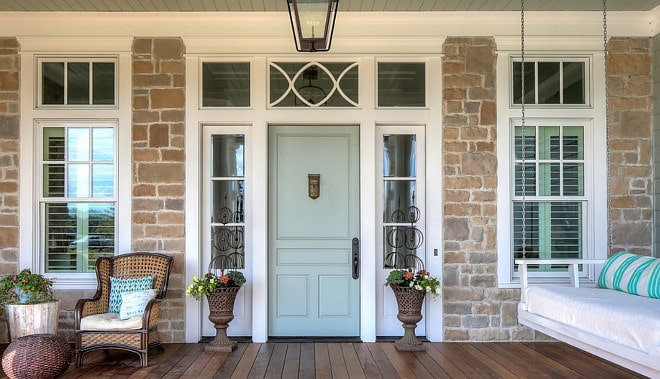 Popular Sherwin Williams exterior paint colors Sea Salt door by Custom Bell Home