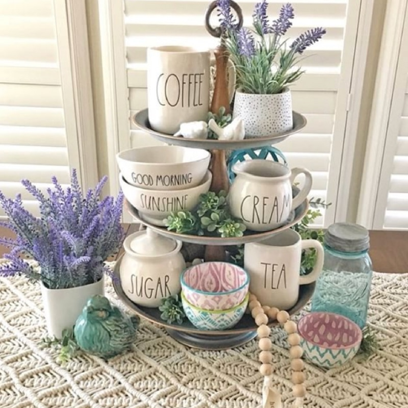 Rae Dunn tiered tray & Rae Dunn Coffee Mugs Lavender Accessorized Tray by Stager Roz