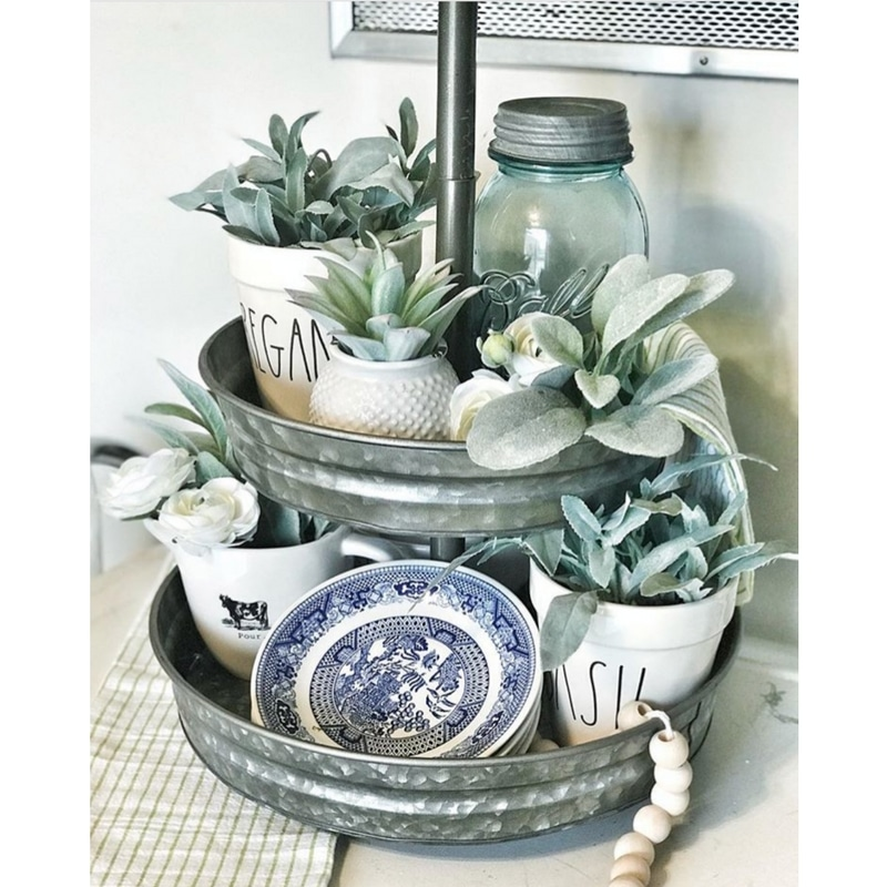 Rae Dunn Trays & Rae Dunn Coffee Mugs Featuring Mason Jars and Lambs Ear by Little Farmhouse on Taylor