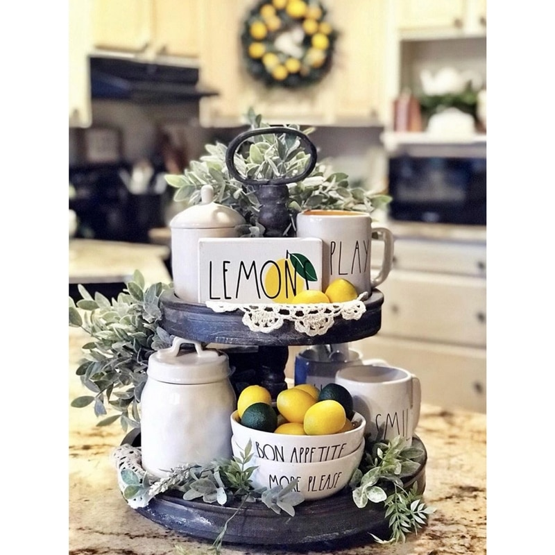 Rae Dunn Trays & Rae Dunn Coffee Mugs Accessorized with Lemons by Farm To Table Creations