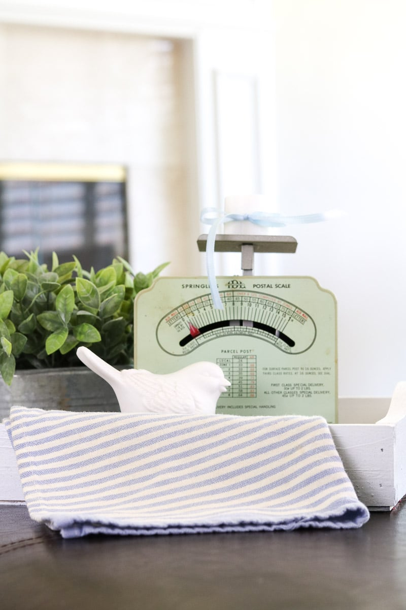 Decorating with vintage scales in the living room