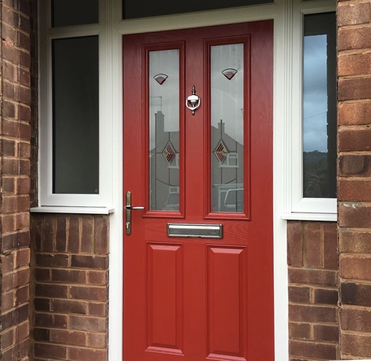 Modern Front Doors by Ben J's House Renovation with a red door on a brick home