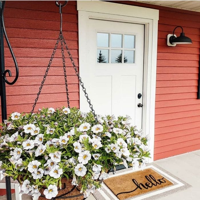 Modern Front Doors by Michaels Mini Farmette with a white door on a red house a white flower hanging planter and a hello welcome mat