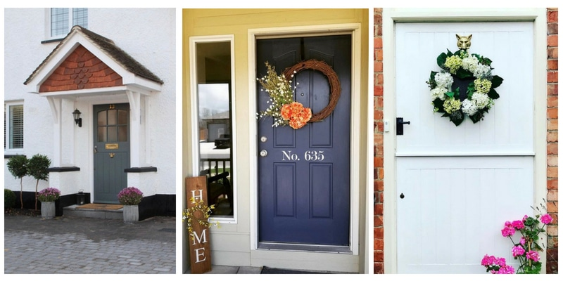 Modern Front Doors with paint color ideas like grey, blue, white, pink, red and black.