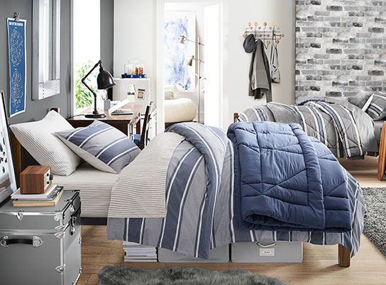 Guys Dorm Room Pottery Barn Blue Stripe Duvet
