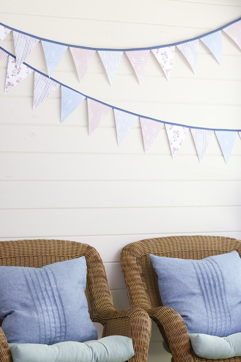 4th of July decorating ideas on the back porch pennant banner