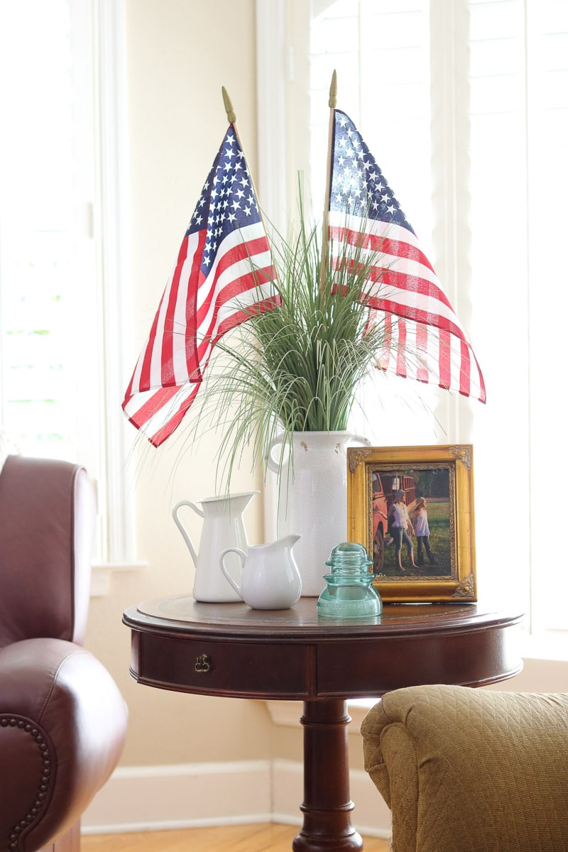 4th of July decorating ideas in the living room with American flags in a vase