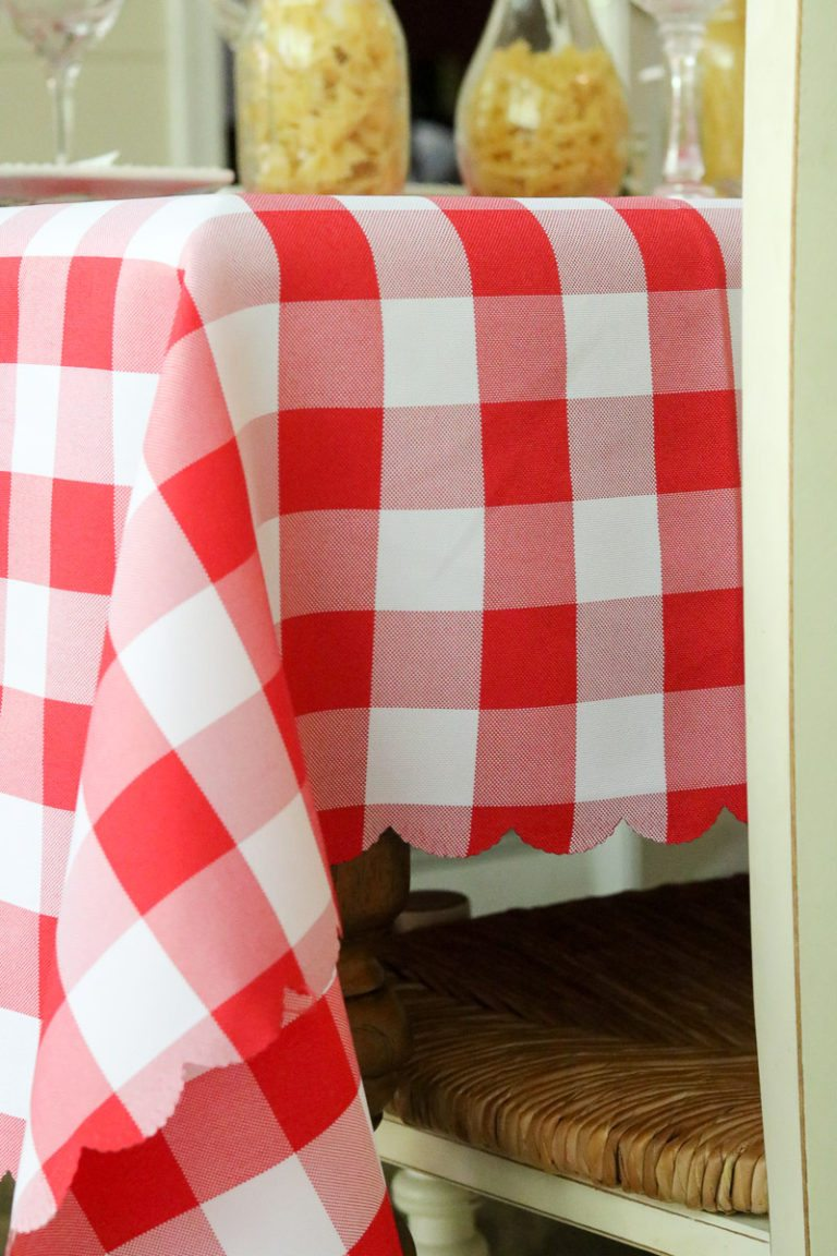 Red and white check tablecloth for 4th of July celebrations